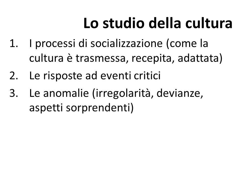 Lo studio della cultura 1.I processi di socializzazione (come la cultura è trasmessa, recepita, adattata) 2.Le risposte ad eventi critici 3.Le anomali