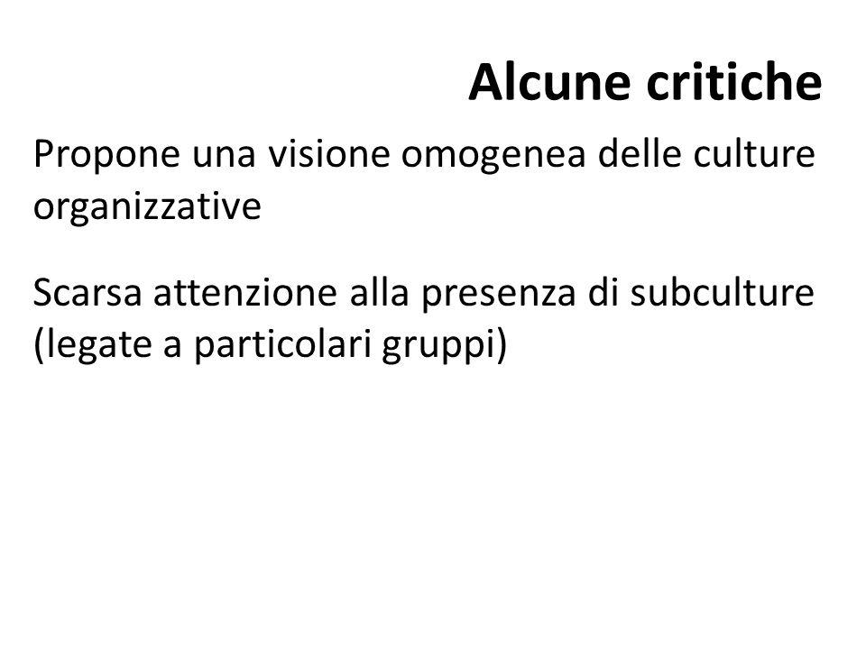 Alcune critiche Propone una visione omogenea delle culture organizzative Scarsa attenzione alla presenza di subculture (legate a particolari gruppi)