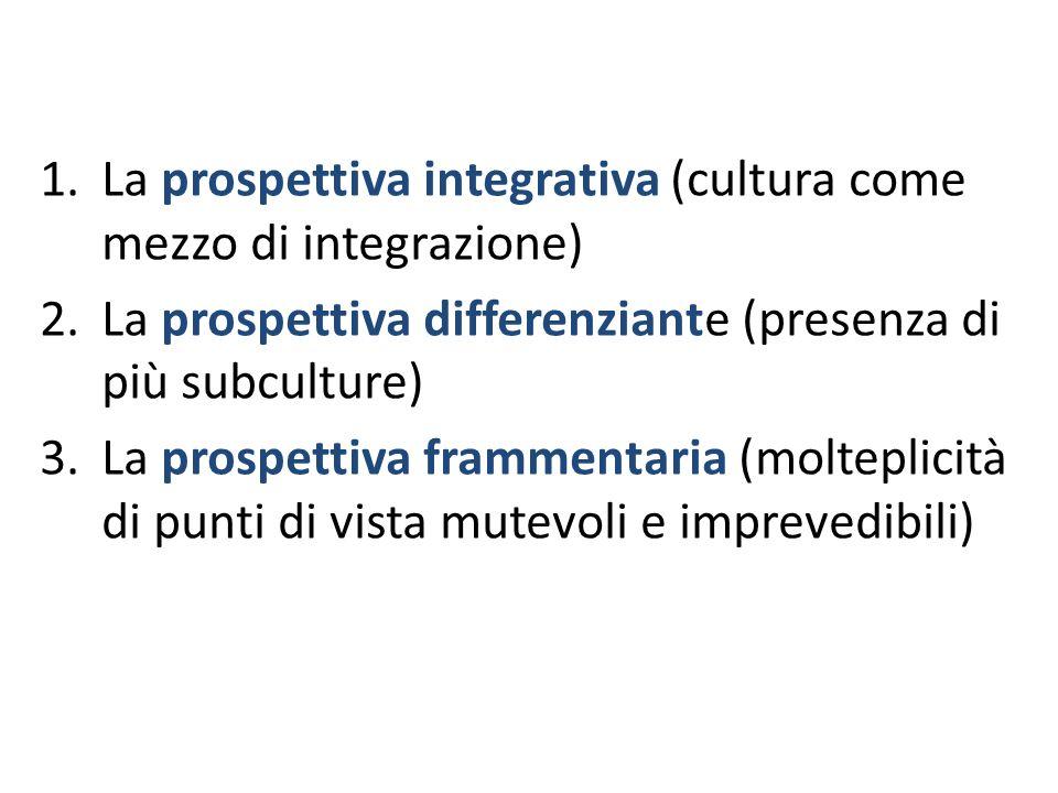 1.La prospettiva integrativa (cultura come mezzo di integrazione) 2.La prospettiva differenziante (presenza di più subculture) 3.La prospettiva framme