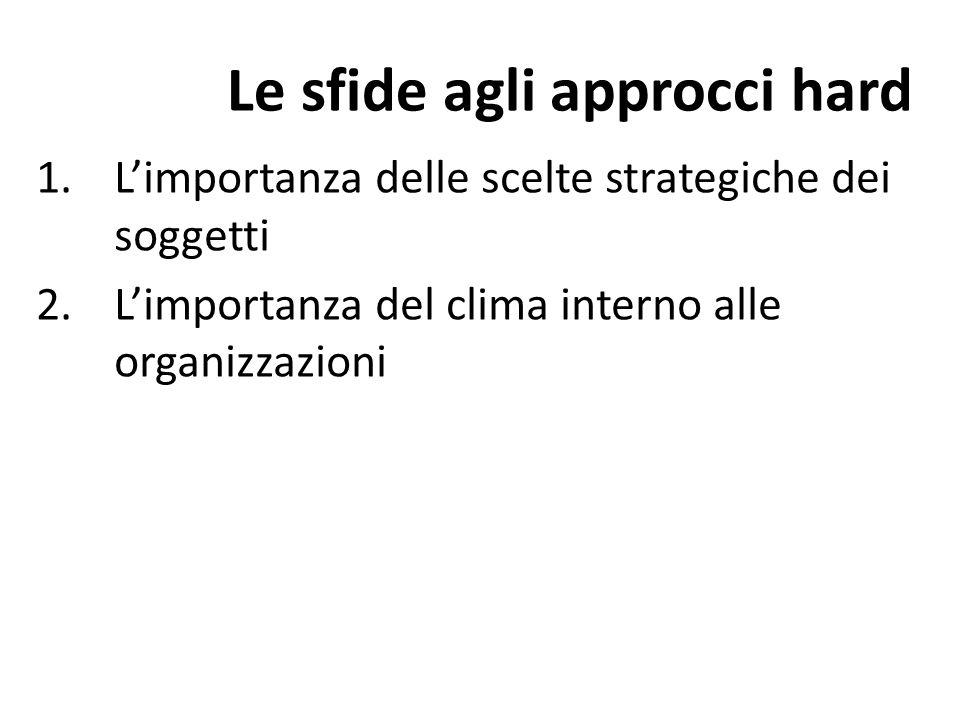 Le sfide agli approcci hard 1.Limportanza delle scelte strategiche dei soggetti 2.Limportanza del clima interno alle organizzazioni