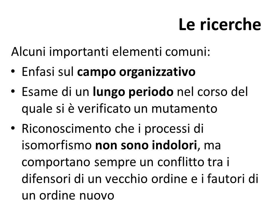 Le ricerche Alcuni importanti elementi comuni: Enfasi sul campo organizzativo Esame di un lungo periodo nel corso del quale si è verificato un mutamen