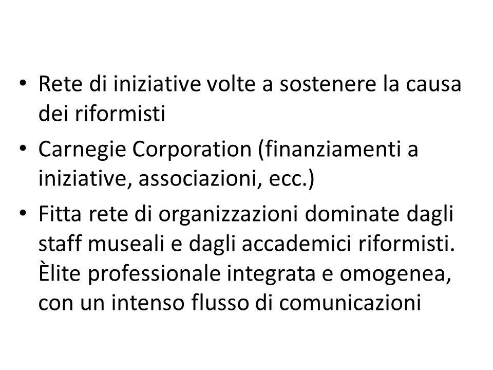 Rete di iniziative volte a sostenere la causa dei riformisti Carnegie Corporation (finanziamenti a iniziative, associazioni, ecc.) Fitta rete di organ