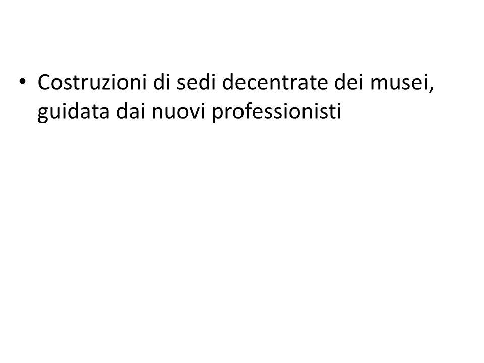 Costruzioni di sedi decentrate dei musei, guidata dai nuovi professionisti
