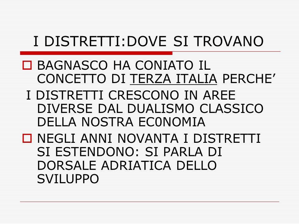 I DISTRETTI:DOVE SI TROVANO BAGNASCO HA CONIATO IL CONCETTO DI TERZA ITALIA PERCHE I DISTRETTI CRESCONO IN AREE DIVERSE DAL DUALISMO CLASSICO DELLA NO