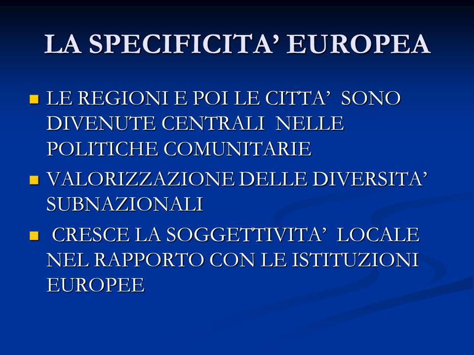 LA SPECIFICITA EUROPEA LE REGIONI E POI LE CITTA SONO DIVENUTE CENTRALI NELLE POLITICHE COMUNITARIE LE REGIONI E POI LE CITTA SONO DIVENUTE CENTRALI NELLE POLITICHE COMUNITARIE VALORIZZAZIONE DELLE DIVERSITA SUBNAZIONALI VALORIZZAZIONE DELLE DIVERSITA SUBNAZIONALI CRESCE LA SOGGETTIVITA LOCALE NEL RAPPORTO CON LE ISTITUZIONI EUROPEE CRESCE LA SOGGETTIVITA LOCALE NEL RAPPORTO CON LE ISTITUZIONI EUROPEE