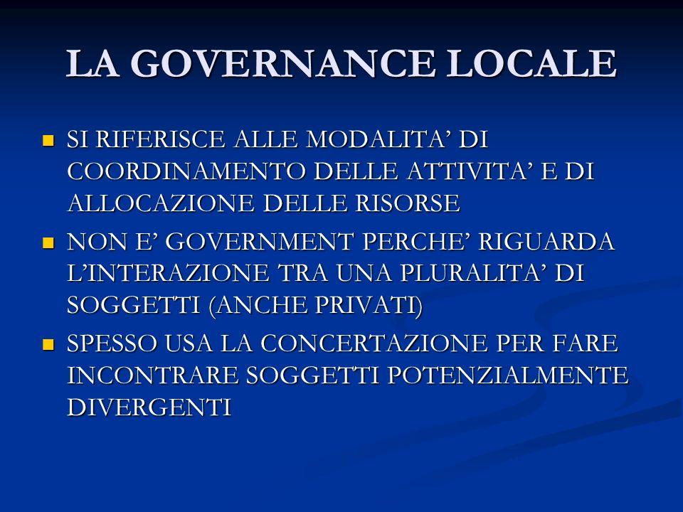 LA GOVERNANCE LOCALE SI RIFERISCE ALLE MODALITA DI COORDINAMENTO DELLE ATTIVITA E DI ALLOCAZIONE DELLE RISORSE SI RIFERISCE ALLE MODALITA DI COORDINAMENTO DELLE ATTIVITA E DI ALLOCAZIONE DELLE RISORSE NON E GOVERNMENT PERCHE RIGUARDA LINTERAZIONE TRA UNA PLURALITA DI SOGGETTI (ANCHE PRIVATI) NON E GOVERNMENT PERCHE RIGUARDA LINTERAZIONE TRA UNA PLURALITA DI SOGGETTI (ANCHE PRIVATI) SPESSO USA LA CONCERTAZIONE PER FARE INCONTRARE SOGGETTI POTENZIALMENTE DIVERGENTI SPESSO USA LA CONCERTAZIONE PER FARE INCONTRARE SOGGETTI POTENZIALMENTE DIVERGENTI