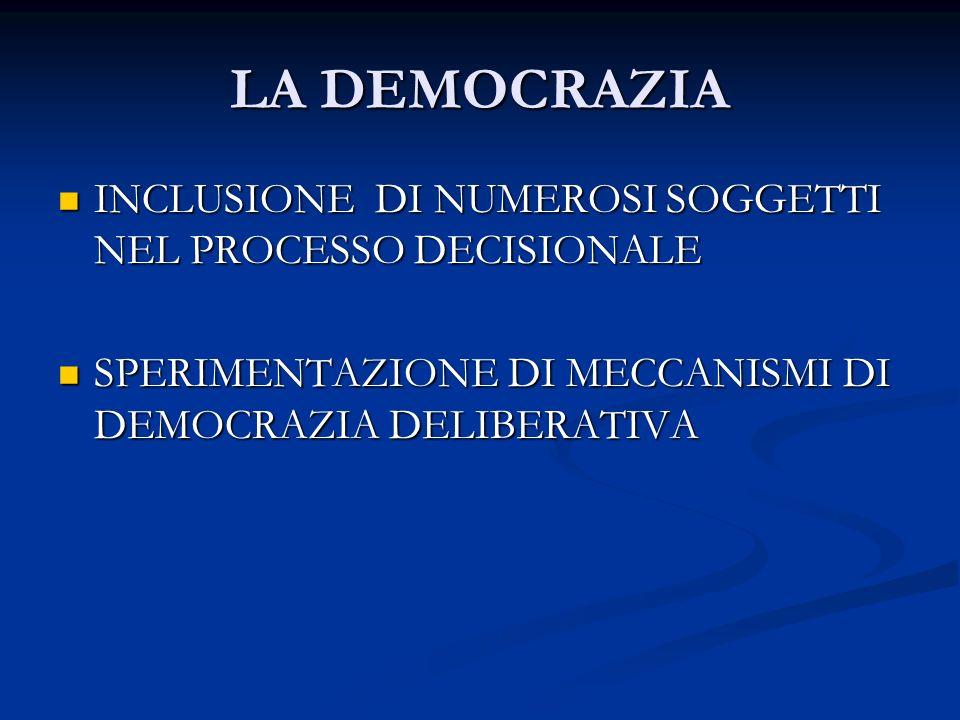 LA DEMOCRAZIA INCLUSIONE DI NUMEROSI SOGGETTI NEL PROCESSO DECISIONALE INCLUSIONE DI NUMEROSI SOGGETTI NEL PROCESSO DECISIONALE SPERIMENTAZIONE DI MECCANISMI DI DEMOCRAZIA DELIBERATIVA SPERIMENTAZIONE DI MECCANISMI DI DEMOCRAZIA DELIBERATIVA