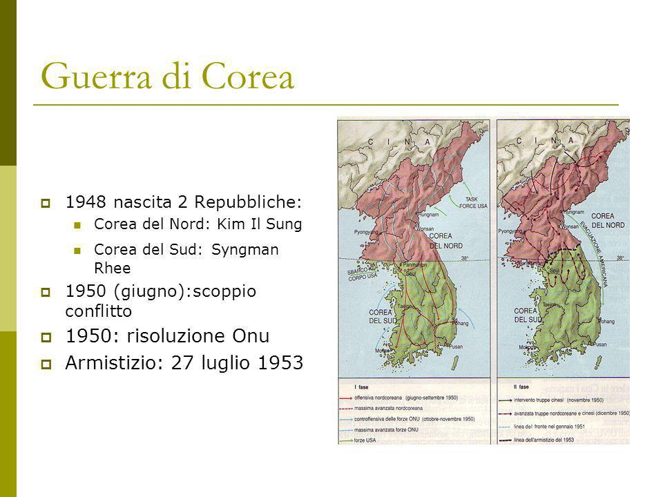 Guerra di Corea 1948 nascita 2 Repubbliche: Corea del Nord: Kim Il Sung Corea del Sud: Syngman Rhee 1950 (giugno):scoppio conflitto 1950: risoluzione