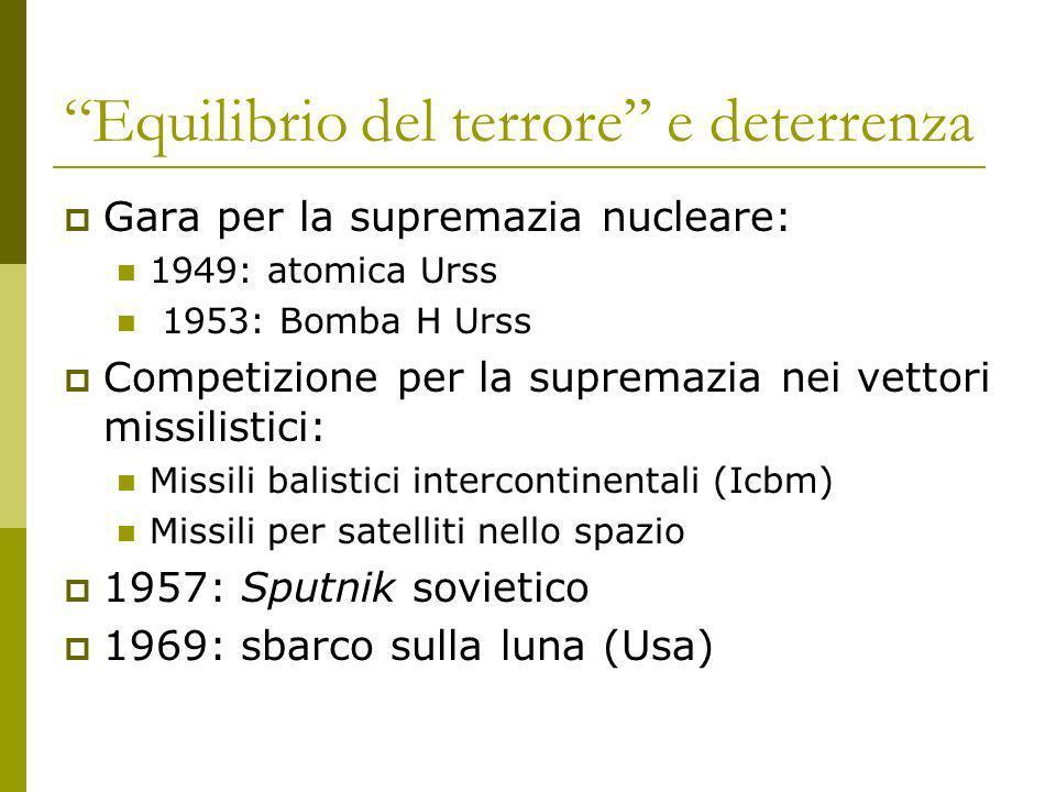 Equilibrio del terrore e deterrenza Gara per la supremazia nucleare: 1949: atomica Urss 1953: Bomba H Urss Competizione per la supremazia nei vettori