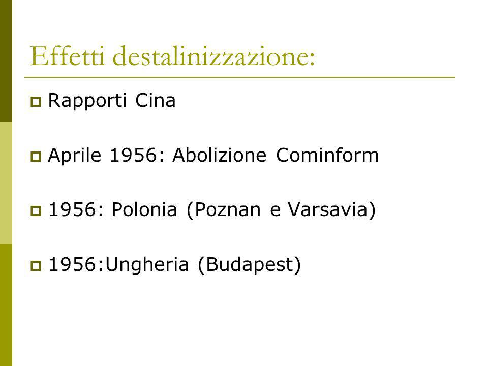 Effetti destalinizzazione: Rapporti Cina Aprile 1956: Abolizione Cominform 1956: Polonia (Poznan e Varsavia) 1956:Ungheria (Budapest)