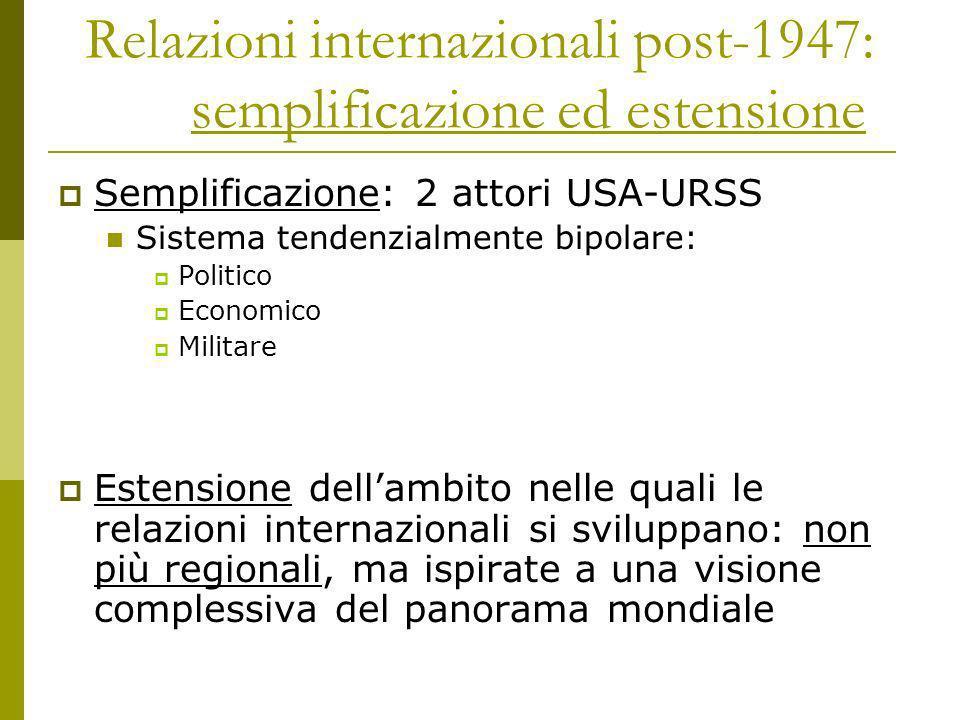 Relazioni internazionali post-1947: semplificazione ed estensione Semplificazione: 2 attori USA-URSS Sistema tendenzialmente bipolare: Politico Econom