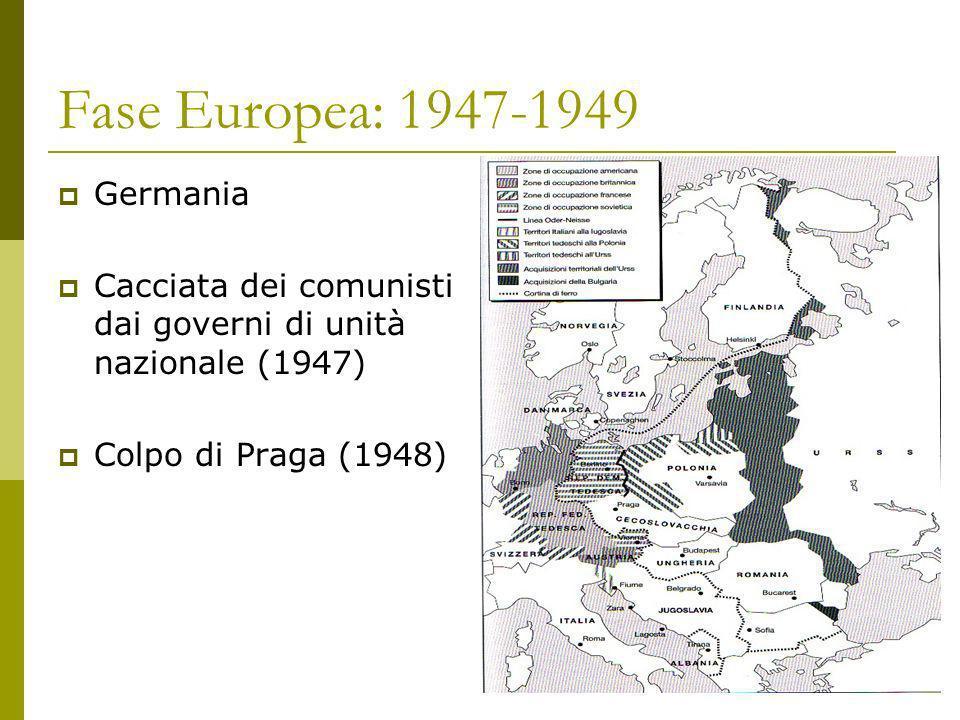 Fase Europea: 1947-1949 Germania Cacciata dei comunisti dai governi di unità nazionale (1947) Colpo di Praga (1948)