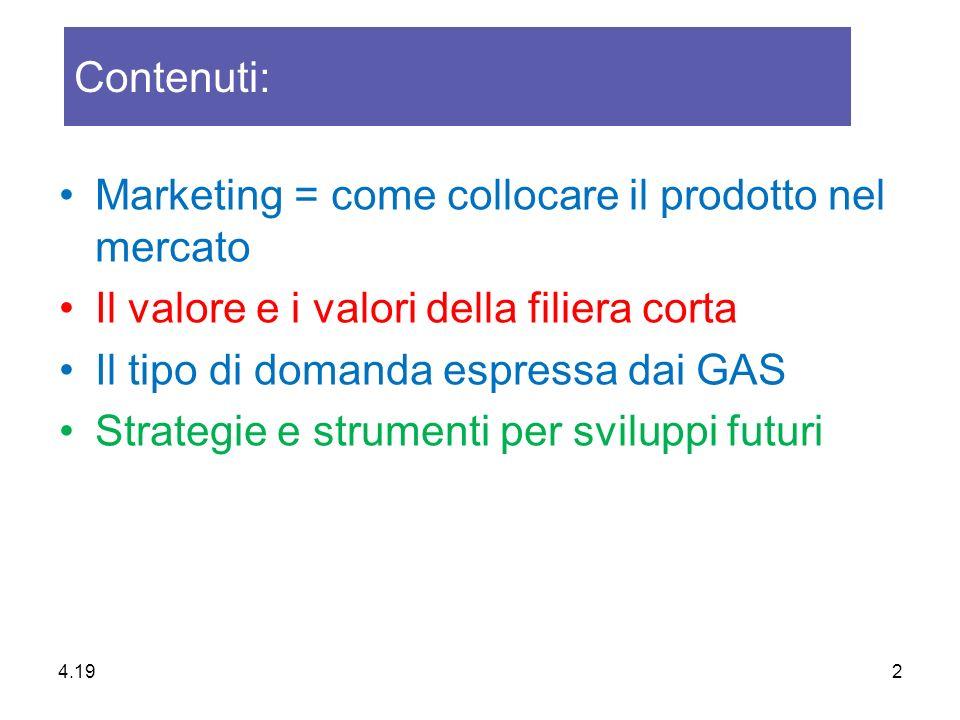 Marketing = come collocare il prodotto nel mercato Il valore e i valori della filiera corta Il tipo di domanda espressa dai GAS Strategie e strumenti per sviluppi futuri Contenuti: 4.20 2