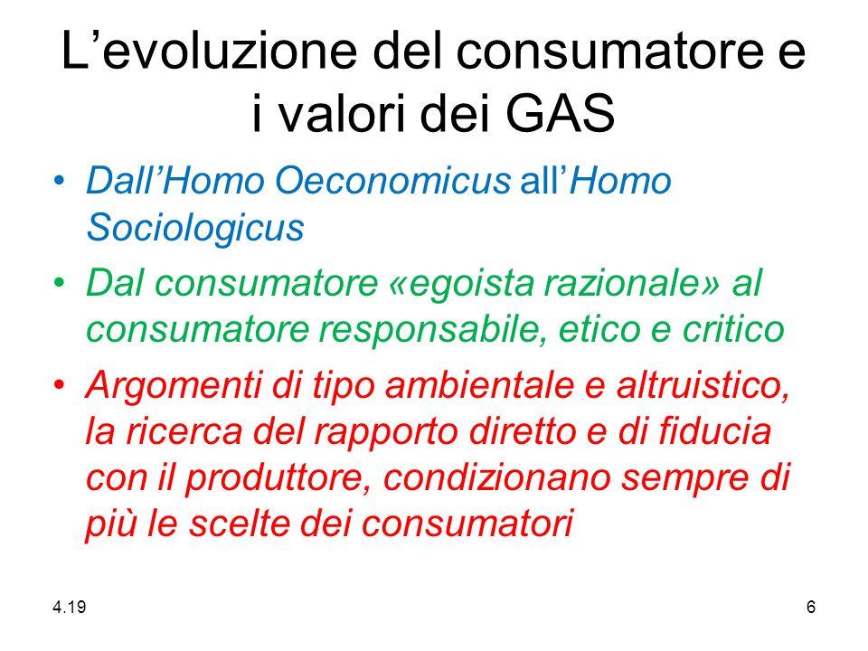 Levoluzione del consumatore e i valori dei GAS DallHomo Oeconomicus allHomo Sociologicus Dal consumatore «egoista razionale» al consumatore responsabile, etico e critico Argomenti di tipo ambientale e altruistico, la ricerca del rapporto diretto e di fiducia con il produttore, condizionano sempre di più le scelte dei consumatori 4.20 6