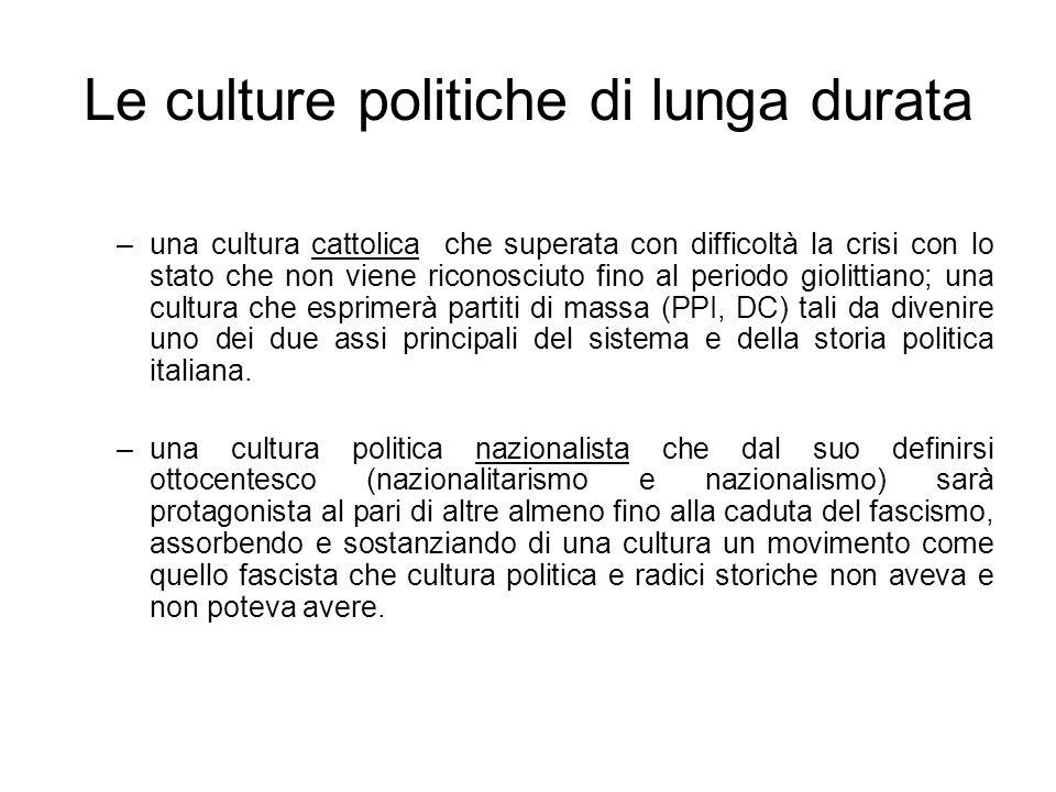 Le culture politiche di lunga durata –una cultura cattolica che superata con difficoltà la crisi con lo stato che non viene riconosciuto fino al perio