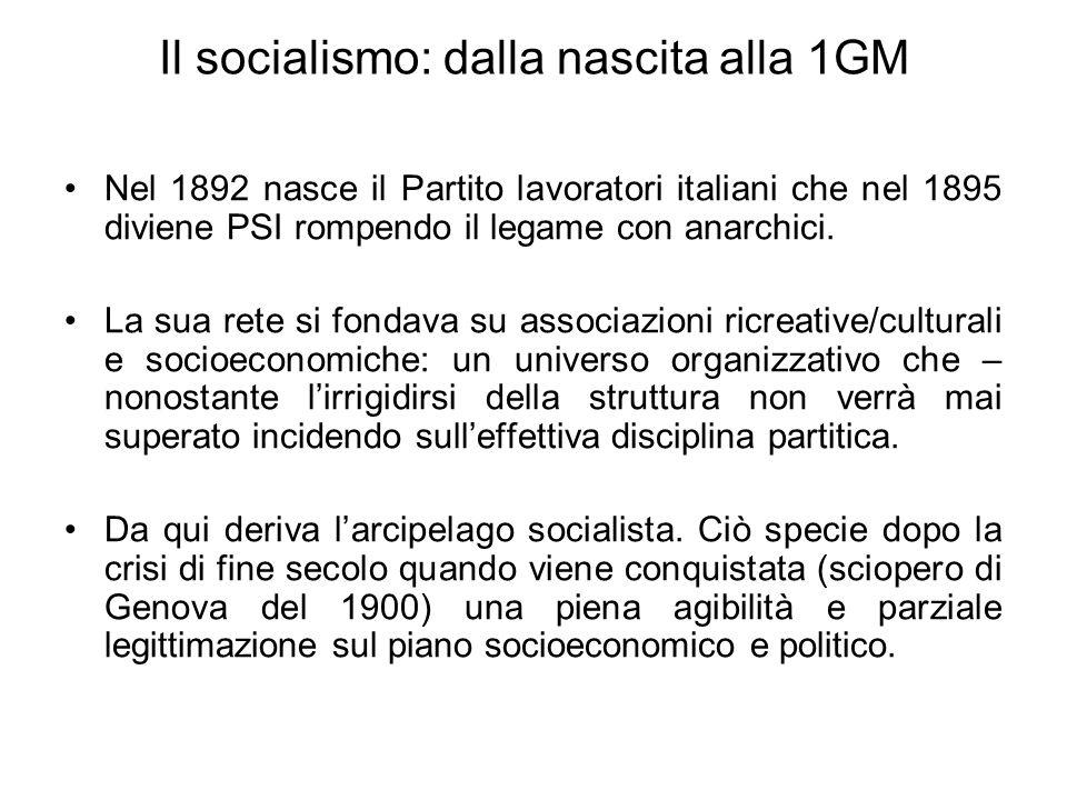 Il socialismo: dalla nascita alla 1GM Nel 1892 nasce il Partito lavoratori italiani che nel 1895 diviene PSI rompendo il legame con anarchici. La sua