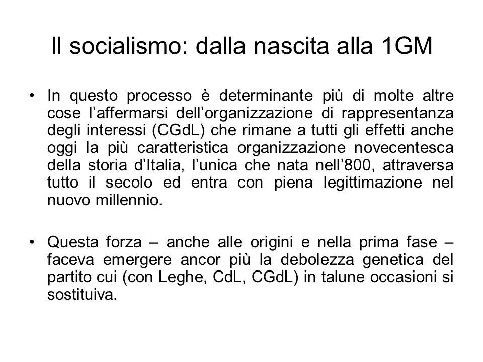Il socialismo: dalla nascita alla 1GM In questo processo è determinante più di molte altre cose laffermarsi dellorganizzazione di rappresentanza degli