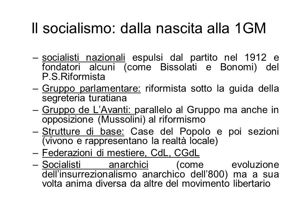 Il socialismo: dalla nascita alla 1GM –socialisti nazionali espulsi dal partito nel 1912 e fondatori alcuni (come Bissolati e Bonomi) del P.S.Riformis