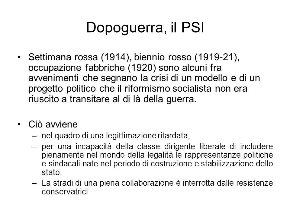 Dopoguerra, il PSI Settimana rossa (1914), biennio rosso (1919-21), occupazione fabbriche (1920) sono alcuni fra avvenimenti che segnano la crisi di u