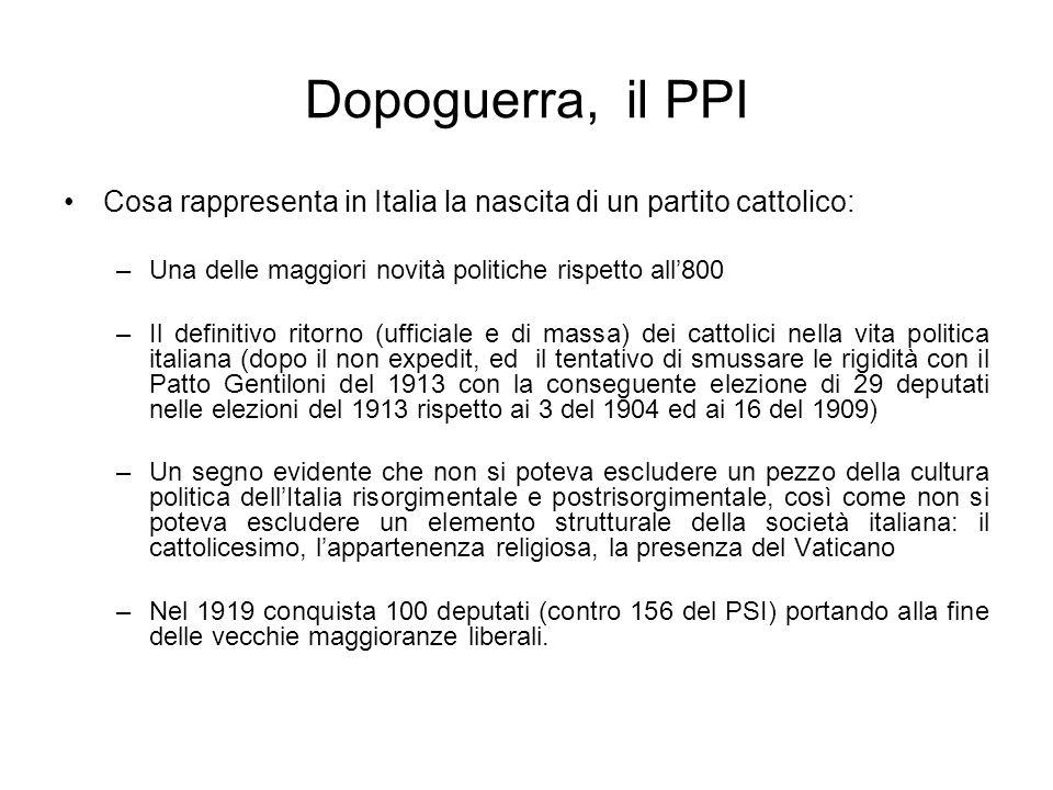 Dopoguerra, il PPI Cosa rappresenta in Italia la nascita di un partito cattolico: –Una delle maggiori novità politiche rispetto all800 –Il definitivo
