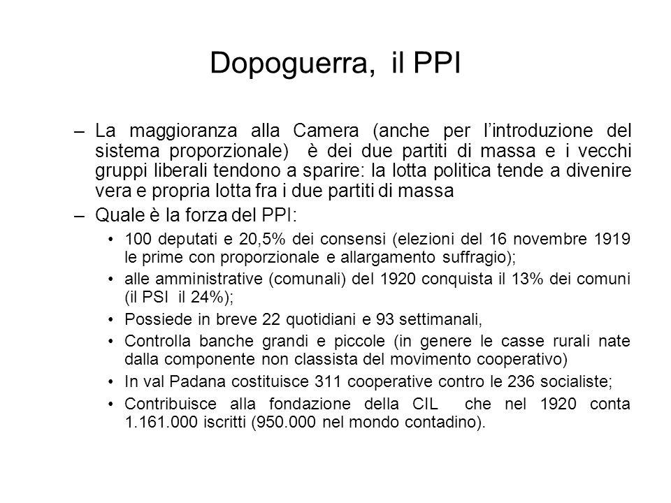 Dopoguerra, il PPI –La maggioranza alla Camera (anche per lintroduzione del sistema proporzionale) è dei due partiti di massa e i vecchi gruppi libera