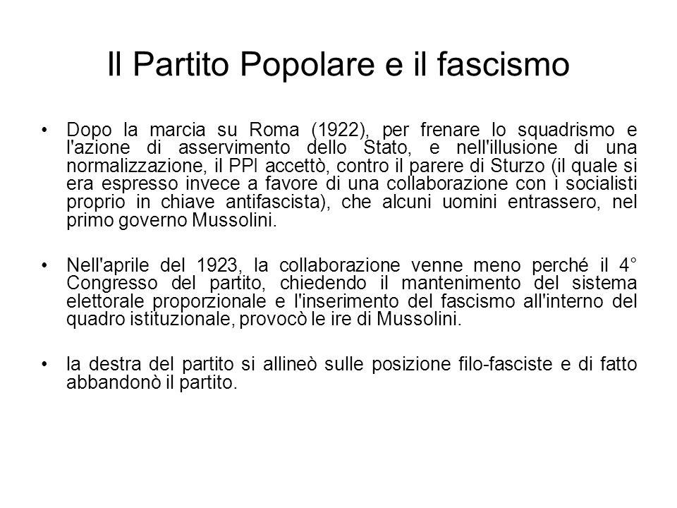 Il Partito Popolare e il fascismo Dopo la marcia su Roma (1922), per frenare lo squadrismo e l'azione di asservimento dello Stato, e nell'illusione di