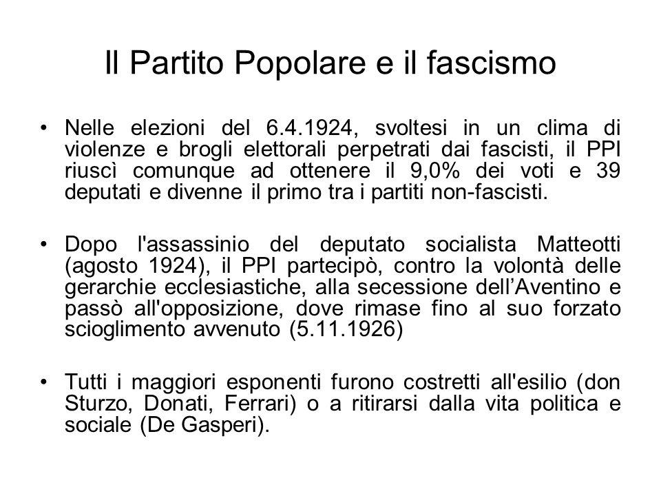 Il Partito Popolare e il fascismo Nelle elezioni del 6.4.1924, svoltesi in un clima di violenze e brogli elettorali perpetrati dai fascisti, il PPI ri
