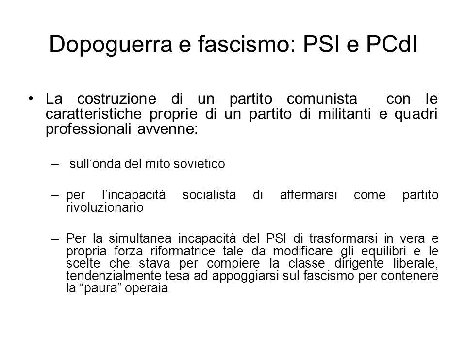 Dopoguerra e fascismo: PSI e PCdI La costruzione di un partito comunista con le caratteristiche proprie di un partito di militanti e quadri profession