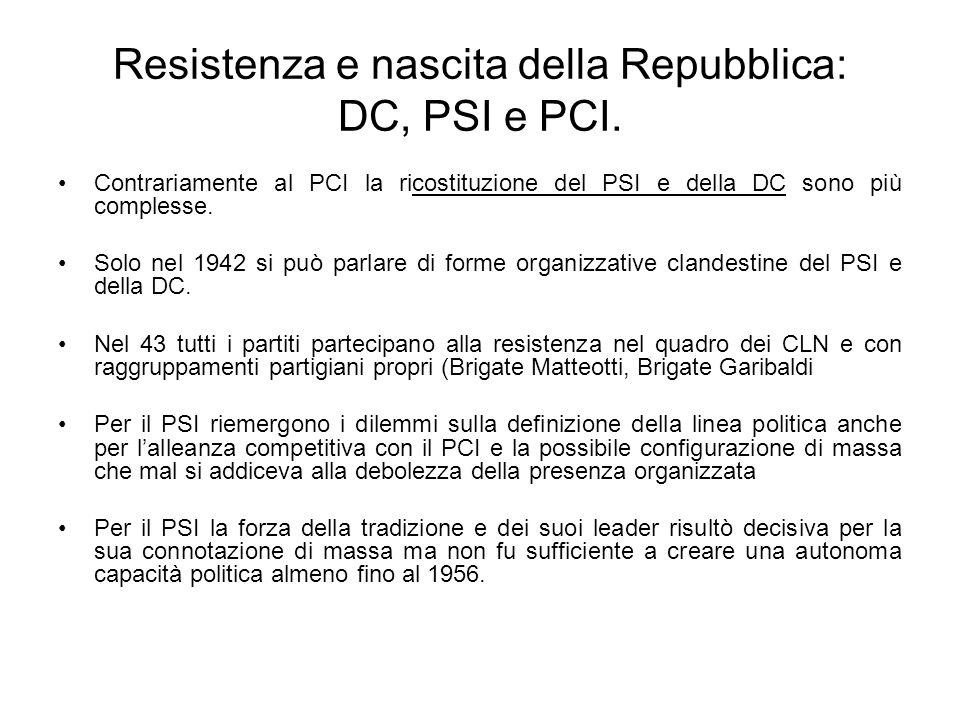 Resistenza e nascita della Repubblica: DC, PSI e PCI. Contrariamente al PCI la ricostituzione del PSI e della DC sono più complesse. Solo nel 1942 si