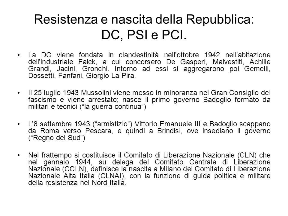 Resistenza e nascita della Repubblica: DC, PSI e PCI. La DC viene fondata in clandestinità nell'ottobre 1942 nell'abitazione dell'industriale Falck, a