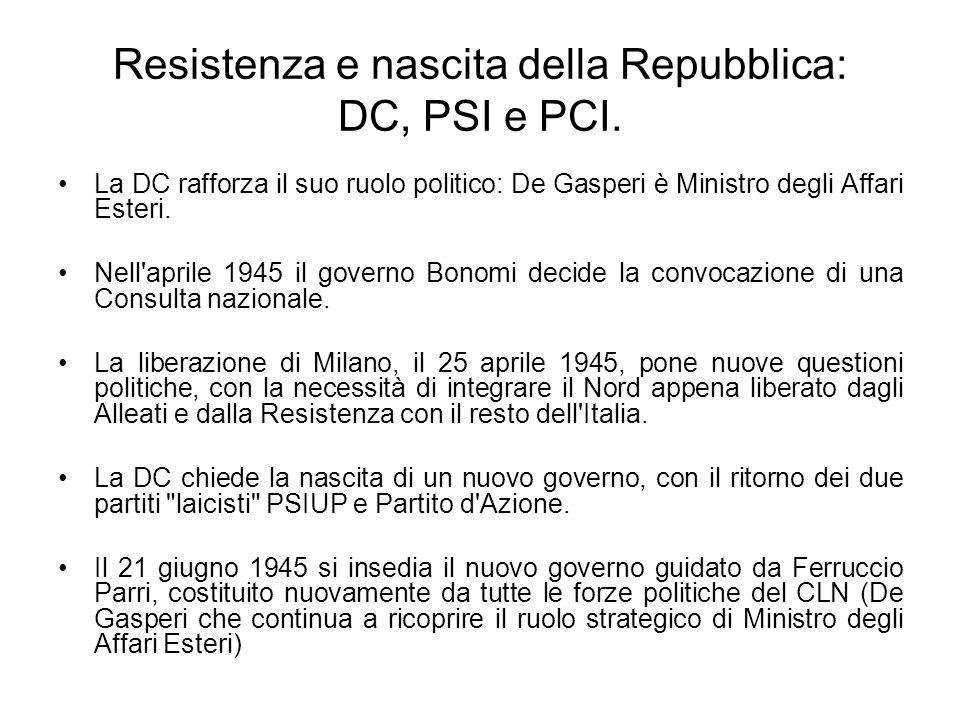 Resistenza e nascita della Repubblica: DC, PSI e PCI. La DC rafforza il suo ruolo politico: De Gasperi è Ministro degli Affari Esteri. Nell'aprile 194