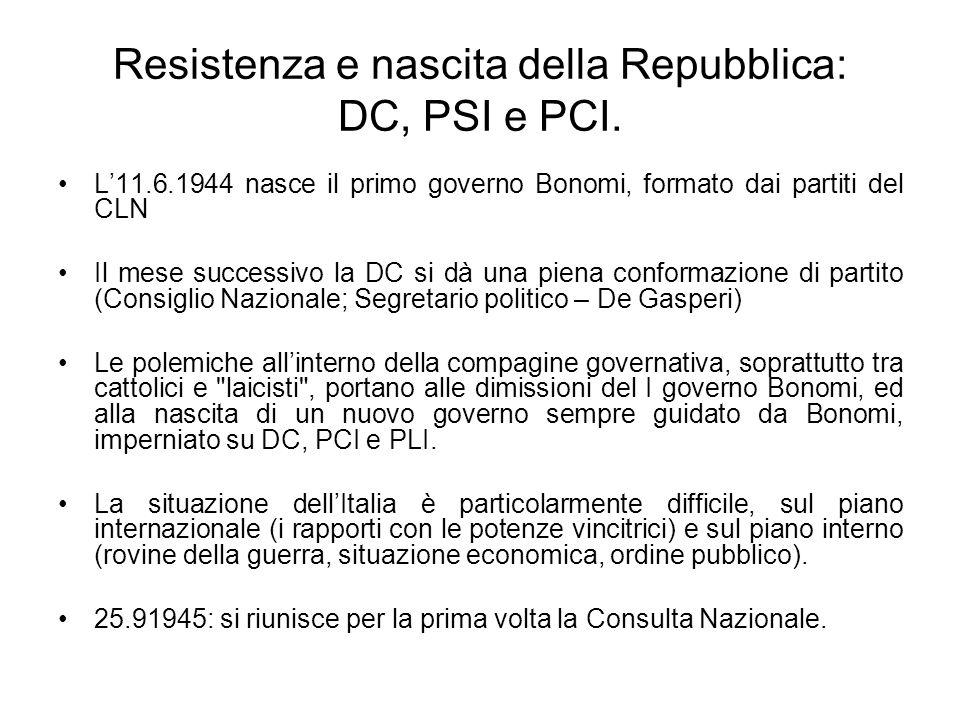 Resistenza e nascita della Repubblica: DC, PSI e PCI. L11.6.1944 nasce il primo governo Bonomi, formato dai partiti del CLN Il mese successivo la DC s