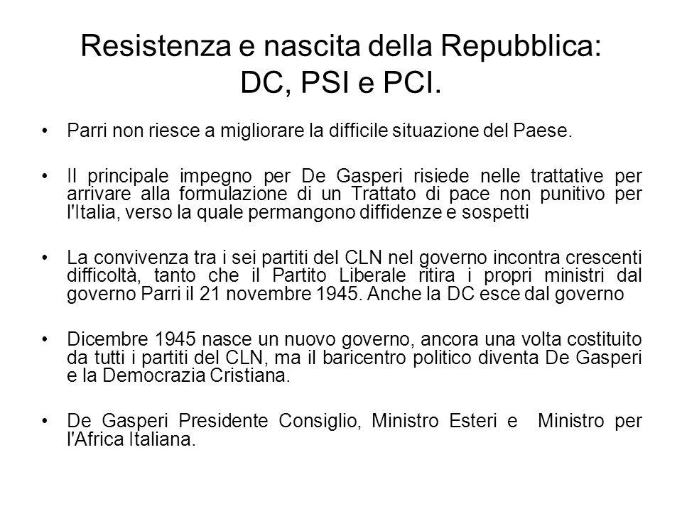 Resistenza e nascita della Repubblica: DC, PSI e PCI. Parri non riesce a migliorare la difficile situazione del Paese. Il principale impegno per De Ga