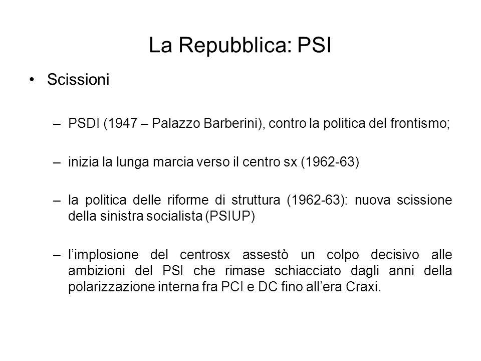 La Repubblica: PSI Scissioni –PSDI (1947 – Palazzo Barberini), contro la politica del frontismo; –inizia la lunga marcia verso il centro sx (1962-63)