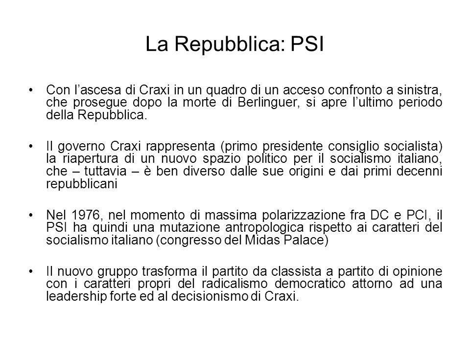 La Repubblica: PSI Con lascesa di Craxi in un quadro di un acceso confronto a sinistra, che prosegue dopo la morte di Berlinguer, si apre lultimo peri