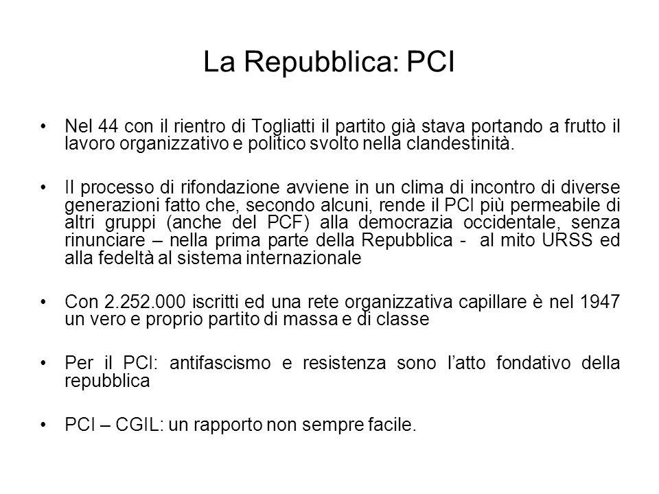 La Repubblica: PCI Nel 44 con il rientro di Togliatti il partito già stava portando a frutto il lavoro organizzativo e politico svolto nella clandesti