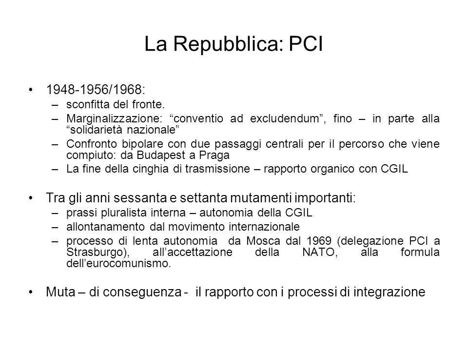 La Repubblica: PCI 1948-1956/1968: –sconfitta del fronte. –Marginalizzazione: conventio ad excludendum, fino – in parte alla solidarietà nazionale –Co