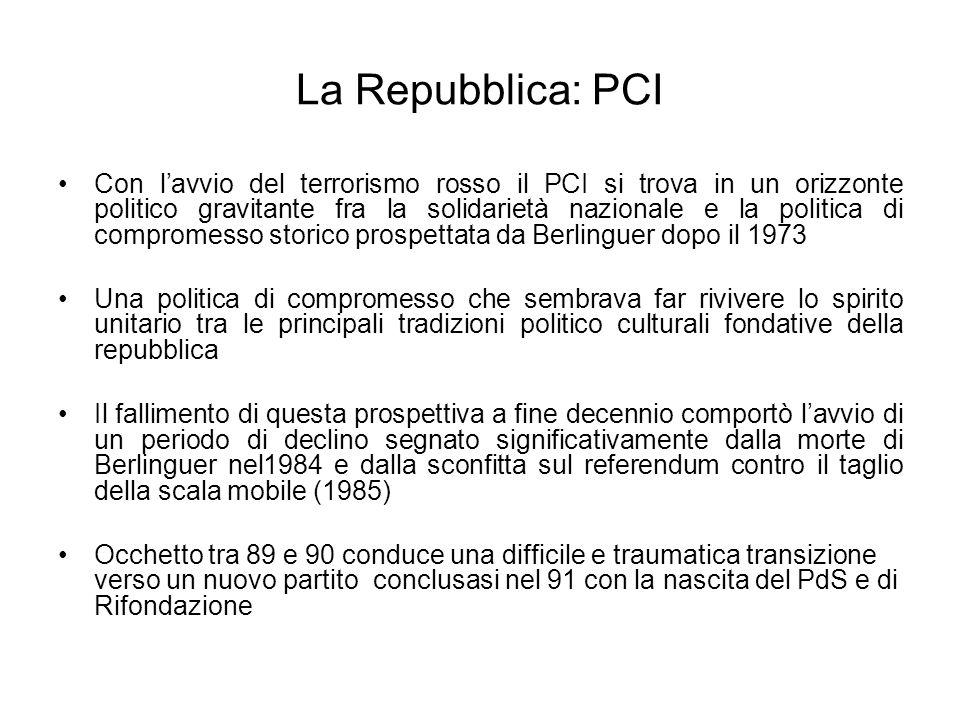 La Repubblica: PCI Con lavvio del terrorismo rosso il PCI si trova in un orizzonte politico gravitante fra la solidarietà nazionale e la politica di c