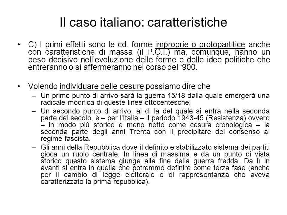 Il caso italiano: caratteristiche C) I primi effetti sono le cd. forme improprie o protopartitice anche con caratteristiche di massa (il P.O.I.) ma, c