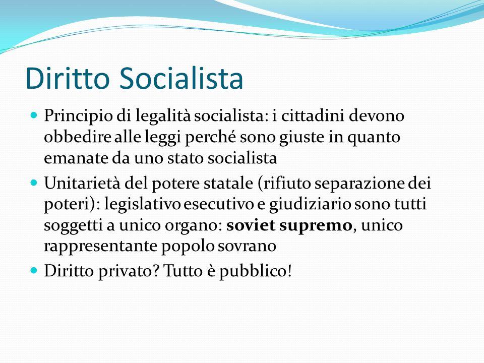 Diritto Socialista Principio di legalità socialista: i cittadini devono obbedire alle leggi perché sono giuste in quanto emanate da uno stato socialis