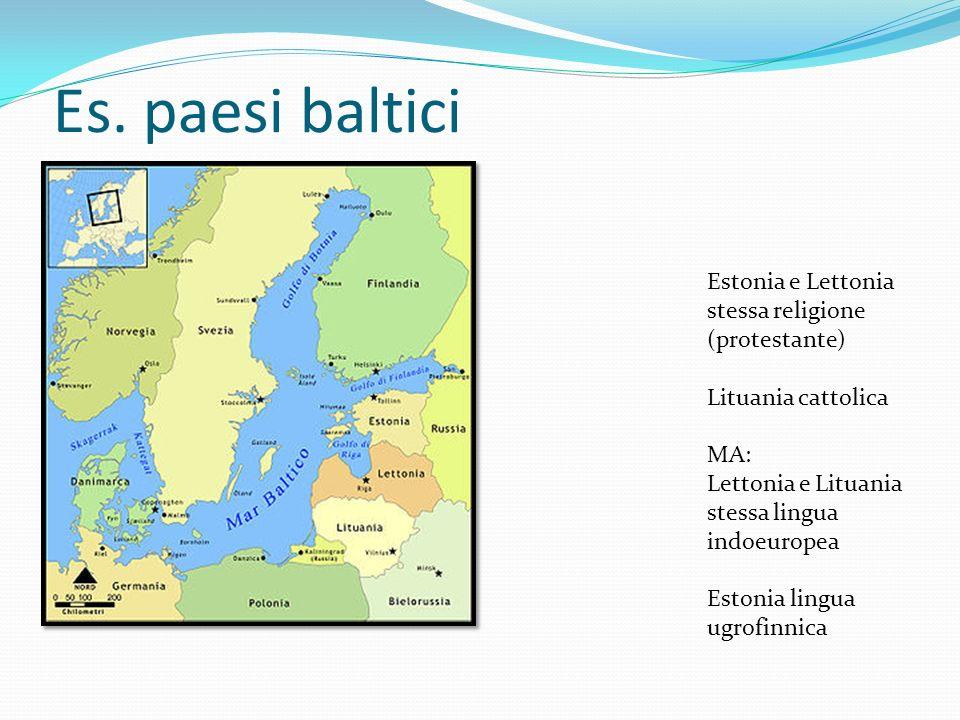 Es. paesi baltici Estonia e Lettonia stessa religione (protestante) Lituania cattolica MA: Lettonia e Lituania stessa lingua indoeuropea Estonia lingu