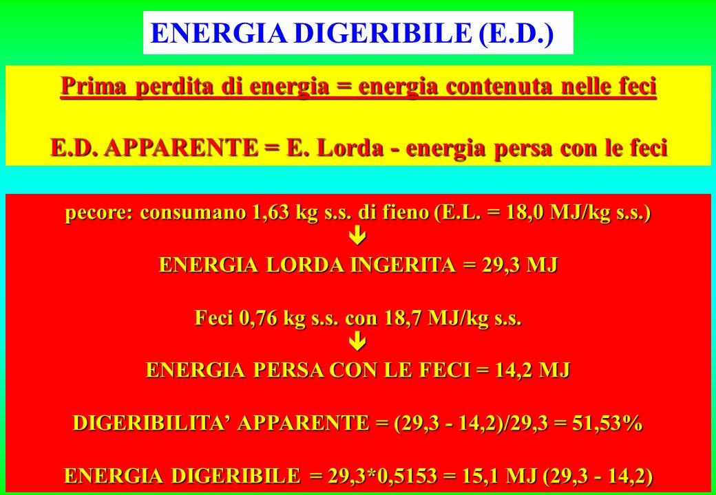 ENERGIA DIGERIBILE (E.D.) Prima perdita di energia = energia contenuta nelle feci E.D.