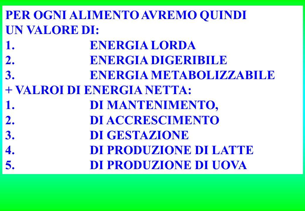 PER OGNI ALIMENTO AVREMO QUINDI UN VALORE DI: 1.ENERGIA LORDA 2.ENERGIA DIGERIBILE 3.ENERGIA METABOLIZZABILE + VALROI DI ENERGIA NETTA: 1.DI MANTENIMENTO, 2.DI ACCRESCIMENTO 3.DI GESTAZIONE 4.DI PRODUZIONE DI LATTE 5.DI PRODUZIONE DI UOVA
