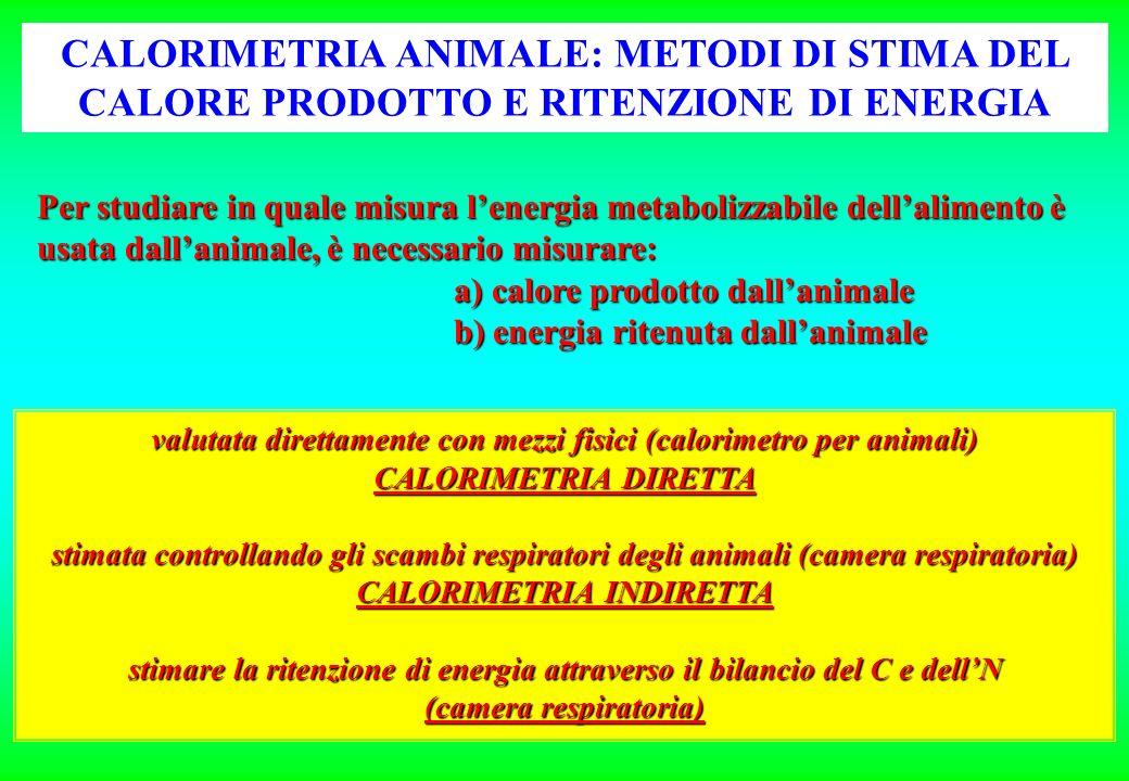 CALORIMETRIA ANIMALE: METODI DI STIMA DEL CALORE PRODOTTO E RITENZIONE DI ENERGIA Per studiare in quale misura lenergia metabolizzabile dellalimento è usata dallanimale, è necessario misurare: a) calore prodotto dallanimale b) energia ritenuta dallanimale valutata direttamente con mezzi fisici (calorimetro per animali) CALORIMETRIA DIRETTA stimata controllando gli scambi respiratori degli animali (camera respiratoria) CALORIMETRIA INDIRETTA stimare la ritenzione di energia attraverso il bilancio del C e dellN (camera respiratoria)