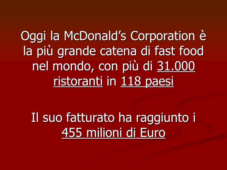 Oggi la McDonalds Corporation è la più grande catena di fast food nel mondo, con più di 31.000 ristoranti in 118 paesi Il suo fatturato ha raggiunto i