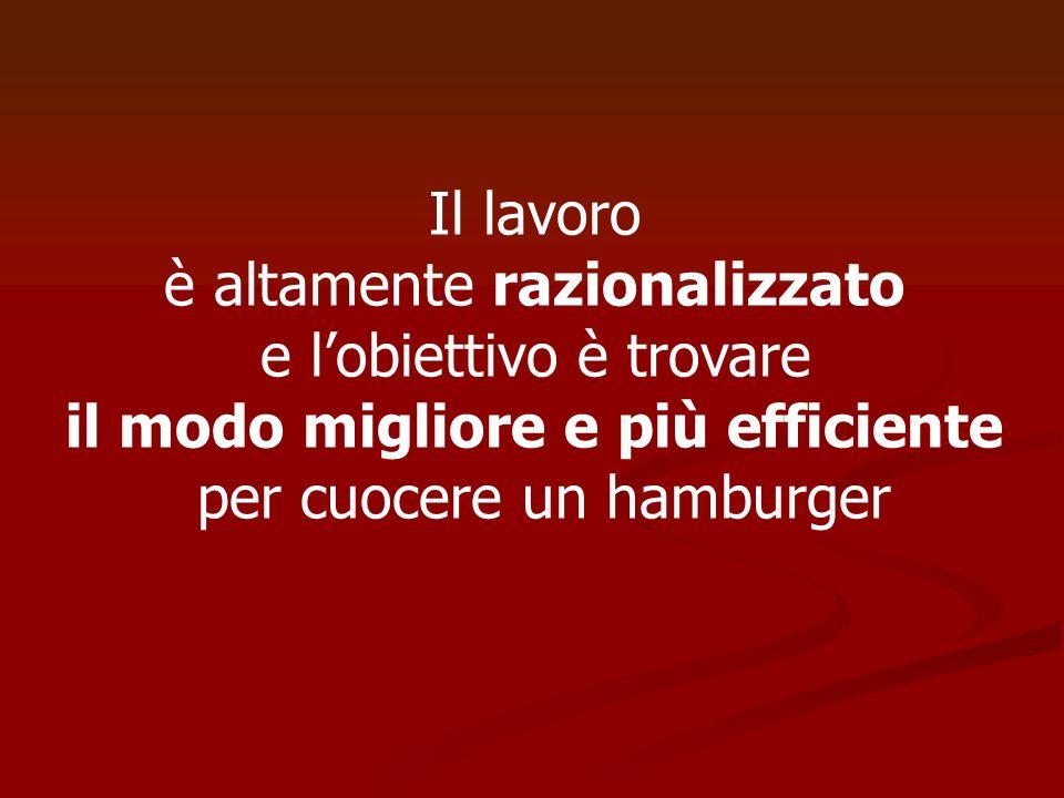Il lavoro è altamente razionalizzato e lobiettivo è trovare il modo migliore e più efficiente per cuocere un hamburger