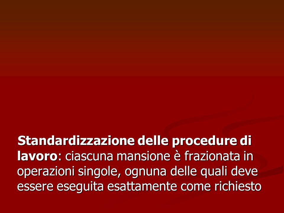 Standardizzazione delle procedure di lavoro: ciascuna mansione è frazionata in operazioni singole, ognuna delle quali deve essere eseguita esattamente