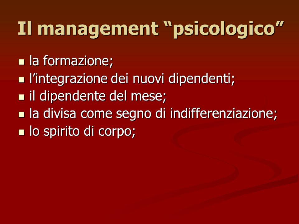 Il management psicologico la formazione; la formazione; lintegrazione dei nuovi dipendenti; lintegrazione dei nuovi dipendenti; il dipendente del mese