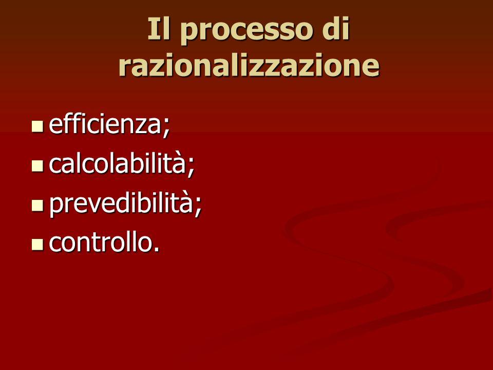 Il processo di razionalizzazione efficienza; efficienza; calcolabilità; calcolabilità; prevedibilità; prevedibilità; controllo. controllo.