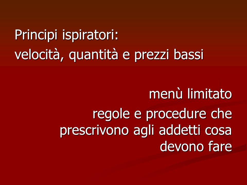 Principi ispiratori: velocità, quantità e prezzi bassi menù limitato regole e procedure che prescrivono agli addetti cosa devono fare